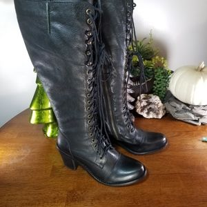 Steve Madden Black Leather Heeled Lace Up Boots